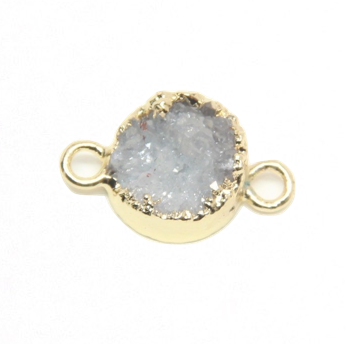 Druzy Agate Pale Gray :  Gold