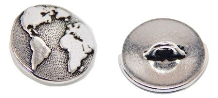 Button Earth - Antique Silver Plated