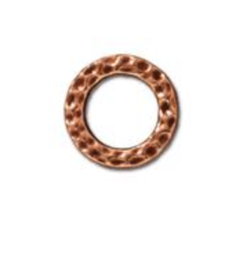 Small Hammered Ring Link :  Copper:  Tierracast