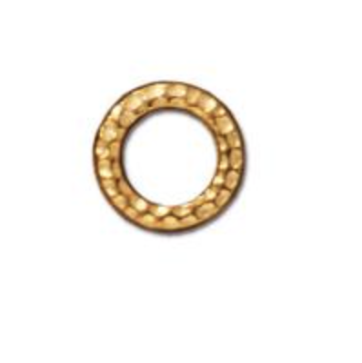 Small Hammered Ring Link :  Gold:  Tierracast