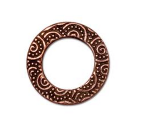 "Hammertone 5/8"" Spiral Ring  :  Copper:  Tierracast"