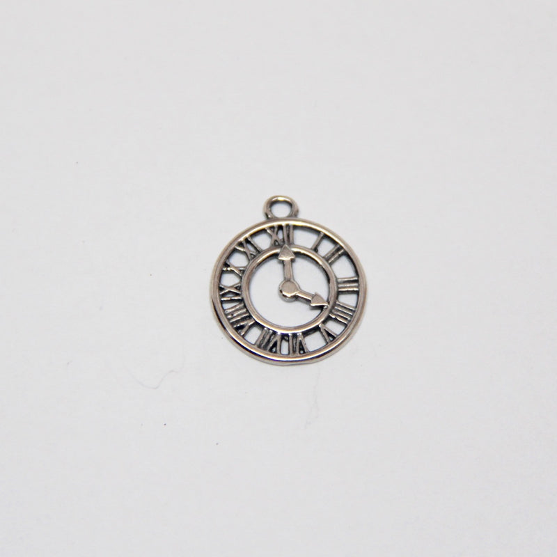 Roman Numeral Clock Charm - Antique Silver - B & B Beads