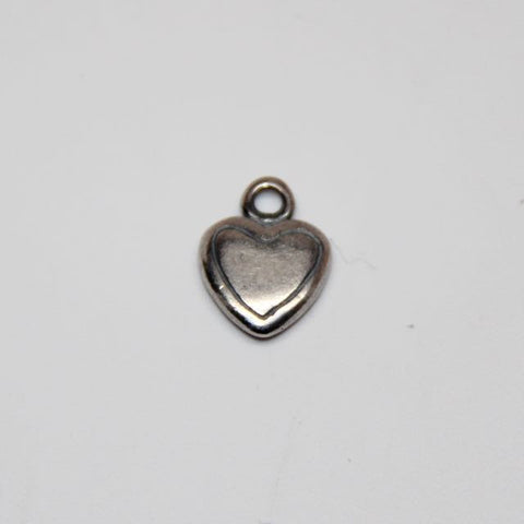 Small Hearts Charm Antique Silver