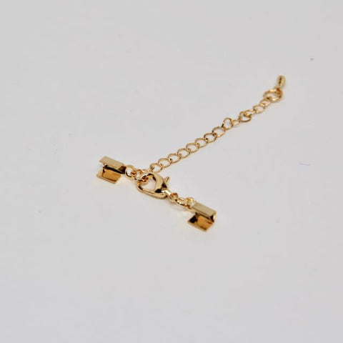 5x3MM Fold Over Crimp with Extender Chain: Brass - Gold:  10 pack