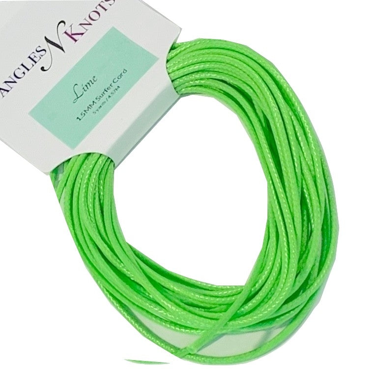 Lime - Wax Polyester Surfer Cord - 5 or 10 yards