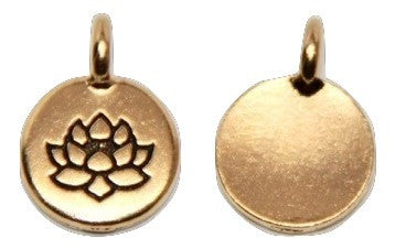 Circle Lotus Flower Charm - Antique Gold