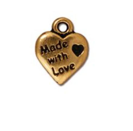 Made with Love Heart Charm  - Gold - TierraCast