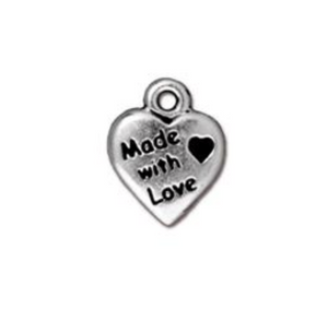 Made with Love Heart Charm  - Silver - TierraCast