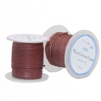 Wax Cotton Cord:  MAROON - 10M Spool