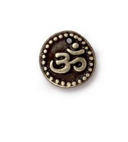 Ohm Coin Charm :Small - Gold - TierraCast