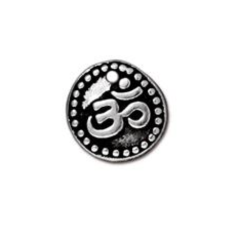 Ohm Coin Charm :Small - Silver - TierraCast