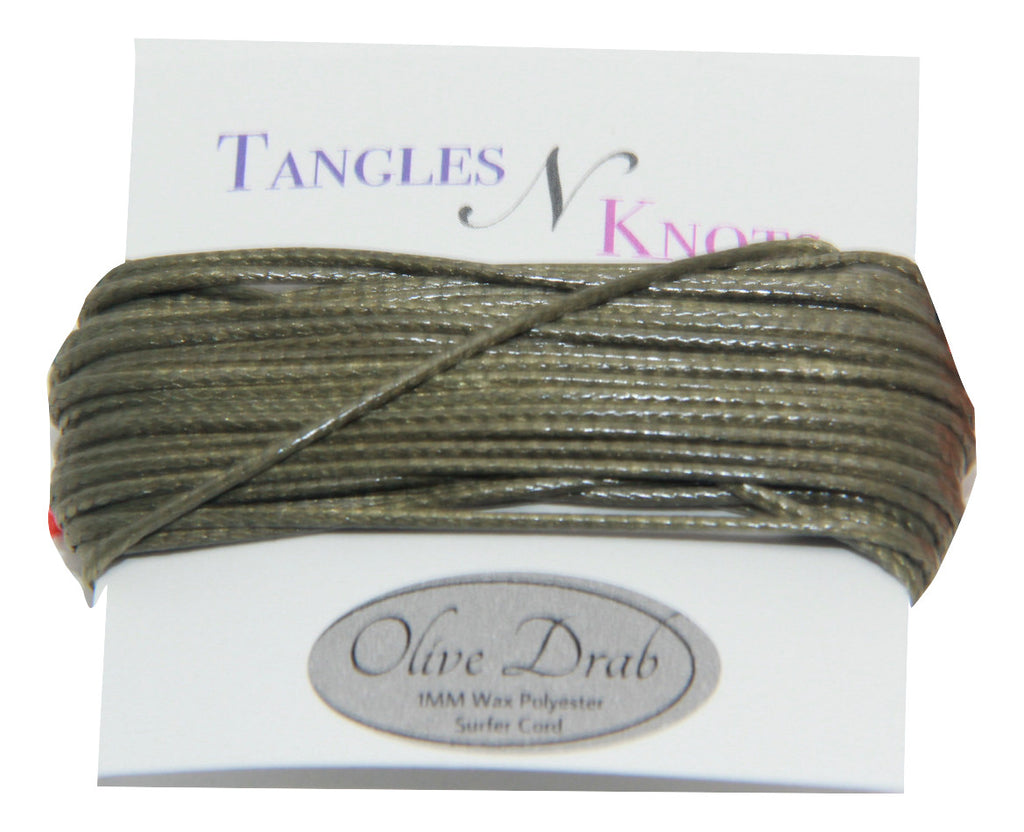 Olive Drab - Wax Polyester Surfer Cord - 5 yard bundle