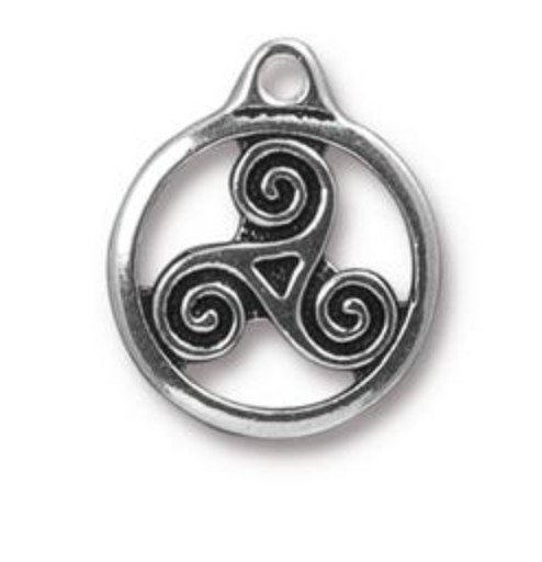 Small Triskele Charm - Antique Silver - TierraCast