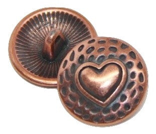 Button Pokadot Heart - Copper Plated