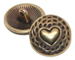 Button Pokadot Heart - Gold Plated