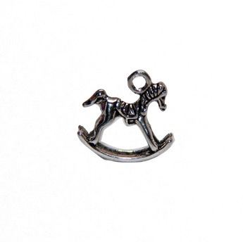 Rocking Horse 3D Charm - Antique Silver
