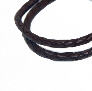 Round Braided Indian Leather:  Natural Antique Walnut:  12 Inches