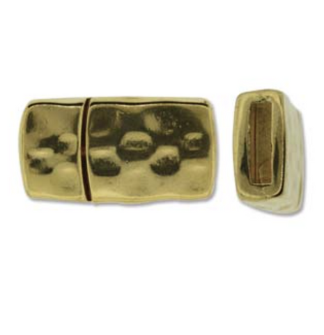 Hammered Single :  Magnetic Rectangular Clasp :  Gold