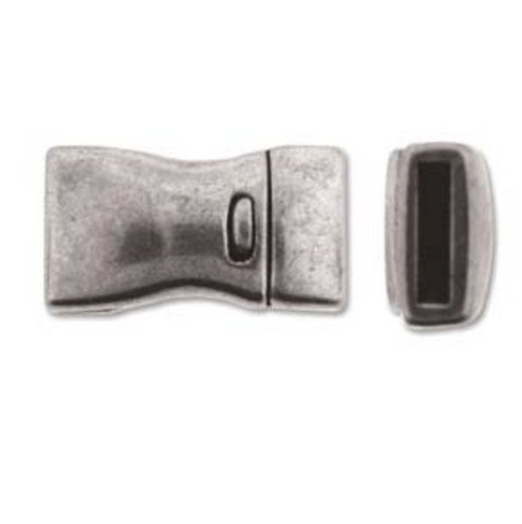Bow Single :  Magnetic Rectangular Clasp :  Silver