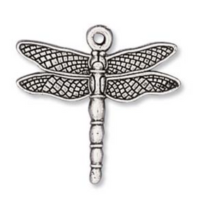 Dragon Fly Charm -  Antique Silver - Quest