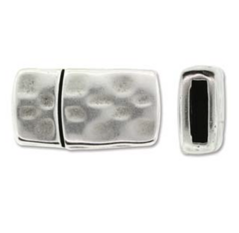 Hammered Single :  Magnetic Rectangular Clasp :  Silver