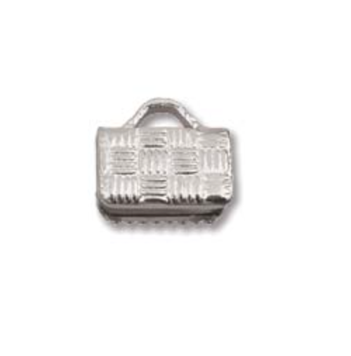 8MM Flat Crimp End:  Simple:  Silver Plate:  Bg/10