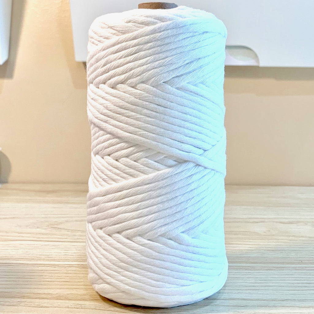 Snow - 5MM Single Strand Cotton Macrame Cord (100M)