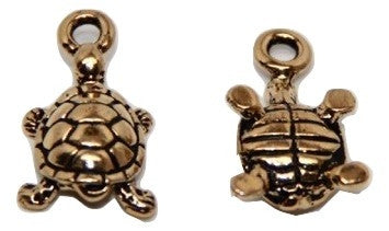 Turtle Charm - Antique Gold