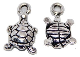 Turtle Charm - Antique Silver