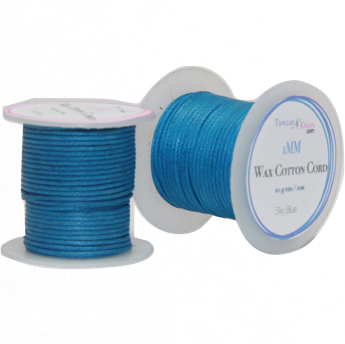 Wax Cotton Cord:  SKY BLUE - 1mm Spool