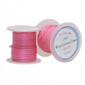 Wax Cotton Cord:  STRAWBERRY - 10M Spool