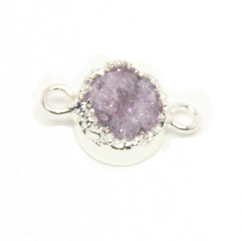 Druzy Agate Pink :  Silver