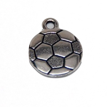 Soccer Charm - Antique Silver Plate - TierraCast (CLEARANCE)