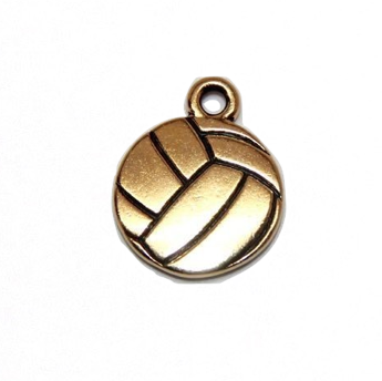 Volleyball Charm - Antique Gold Plate - TierraCast (CLEARANCE)