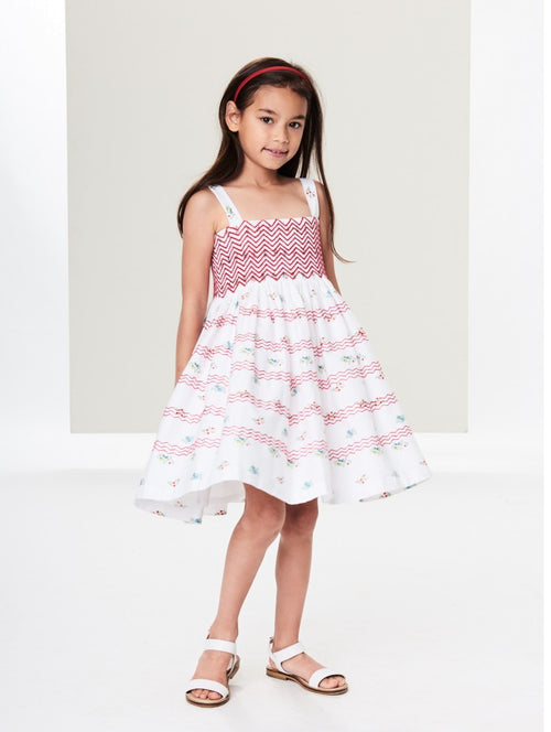 TOSSED FLOWERS COTTON SMOCKED DRESS