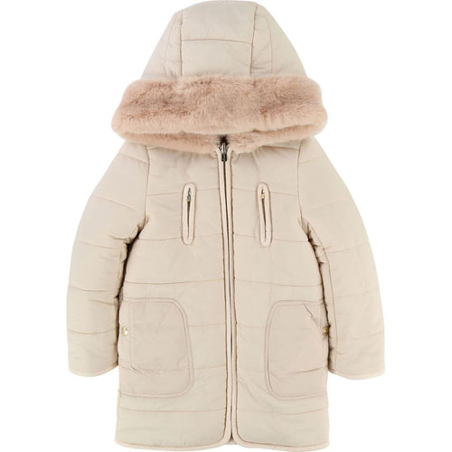 kid girl reversible puffer w/ hood