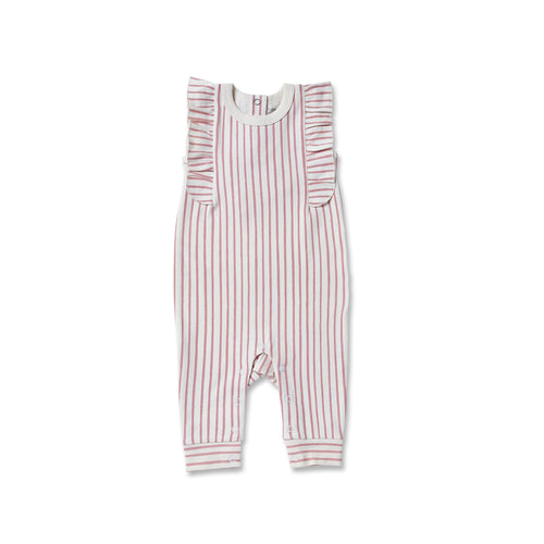 Stripes Away Short Sleeve Ruffle Romper Dark Pink