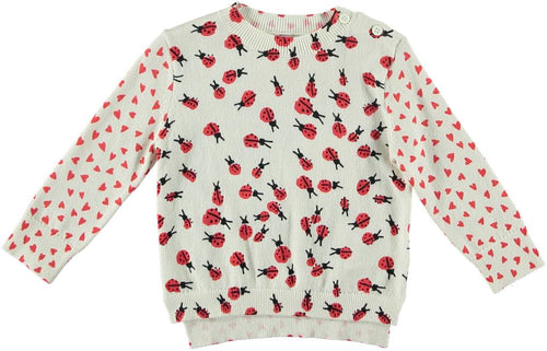 Alex Baby Girl All Over Lady Bug Print Sweater