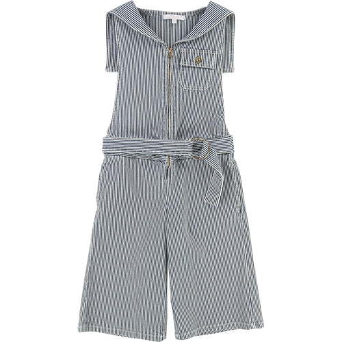 KID STRIPED MIDI DENIM JUMPSUIT, SAILOR STYLE