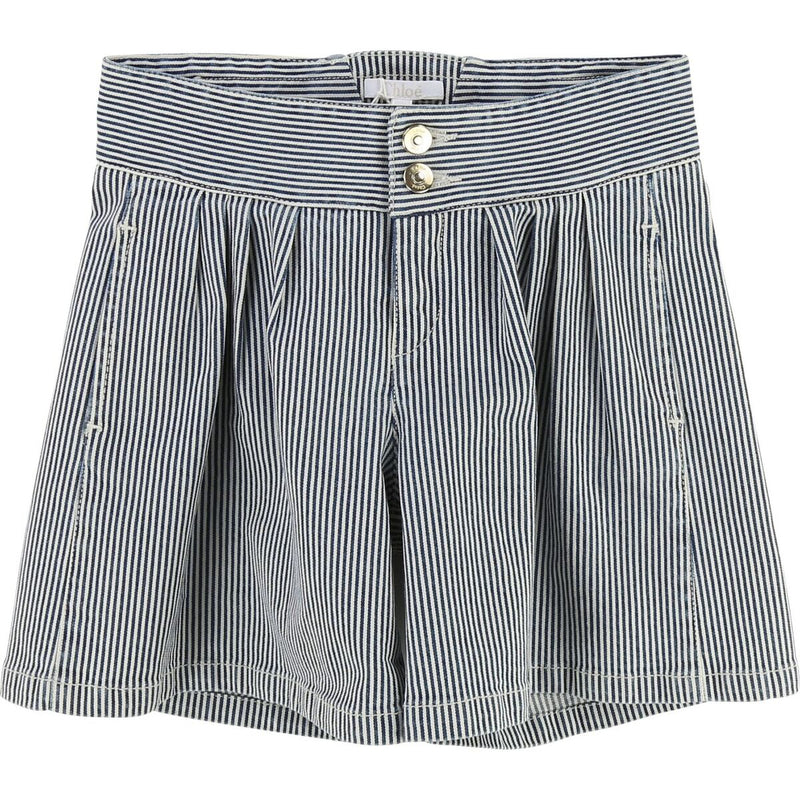 Kid striped denim shorts