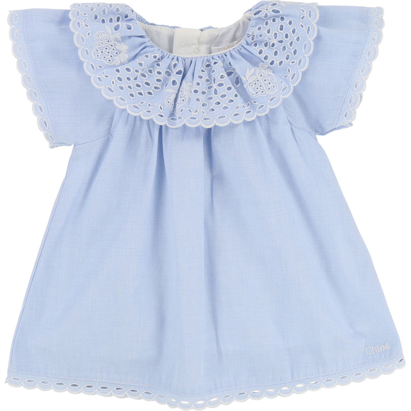 NEWBORN FRENCH SCALLOPED EMBROIDERED DRESS