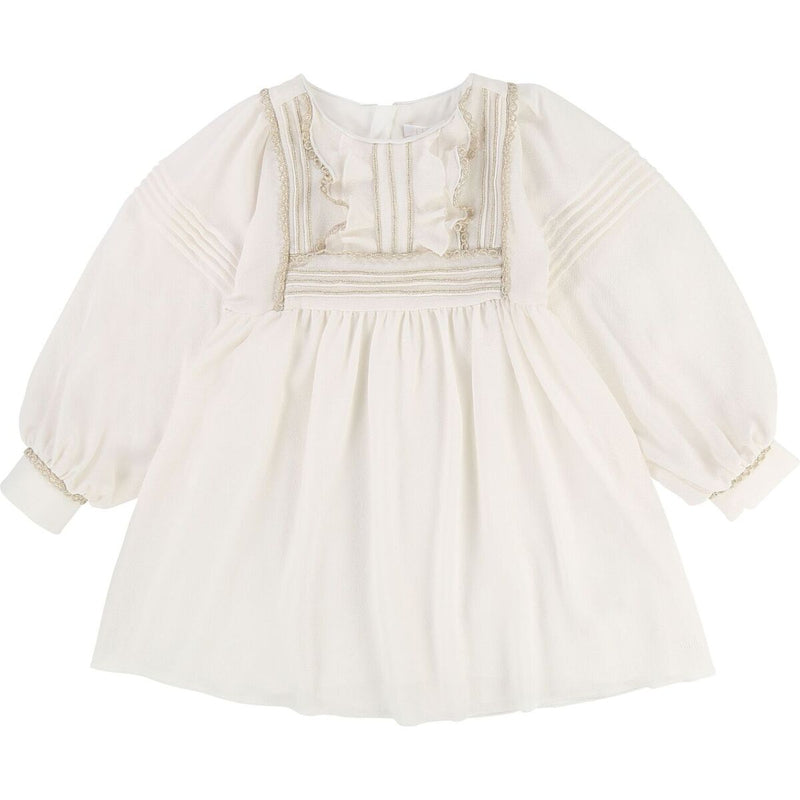 KID GIRL COUTURE DRESS W/ GOLD TRIMMED RUFFLES