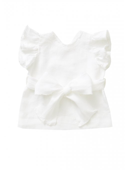 Baby Girl SS Linen Top w Front Bow