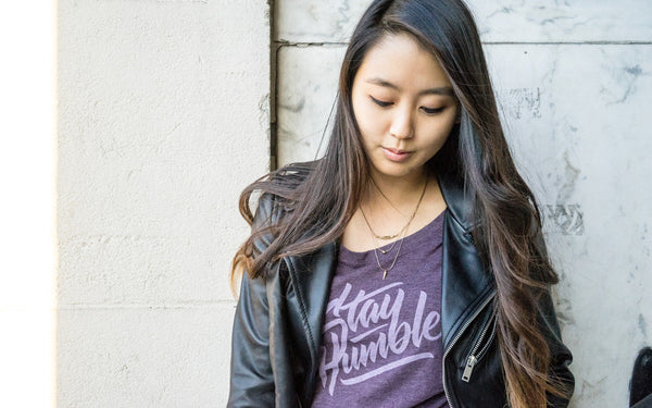Stay Humble Tee - Purple Women's Scoop