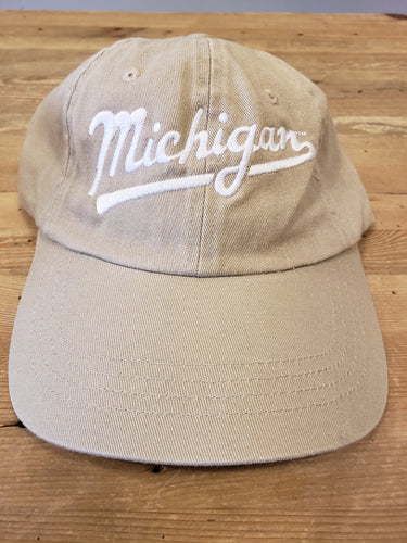 Tan Michigan Script Hat