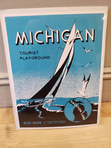 Michigan tourist Playground Vintage Poster