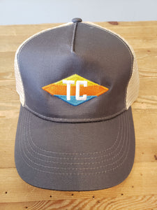 TC Diamond Trucker Hat- Dark Grey & Tan