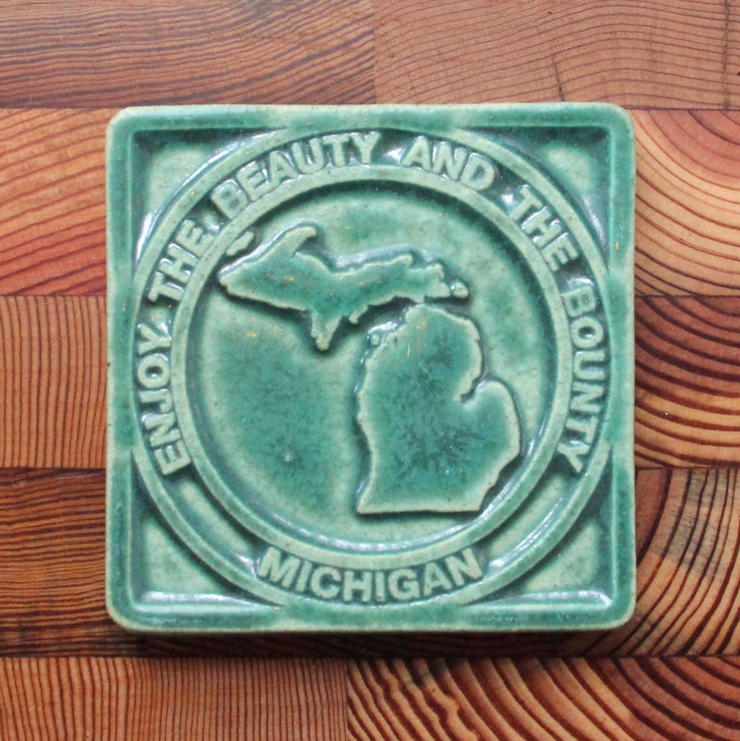 Michigan Beauty & Bounty Tile / Pewabic Green