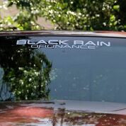 BLACK  RAIN ORDNANCE TEXT LOGO VINYL DECAL
