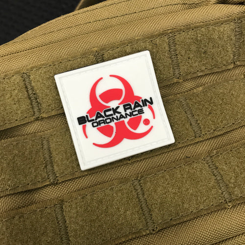 "Black Rain Ordnance 1 ¾""  Red and White Logo Patch"